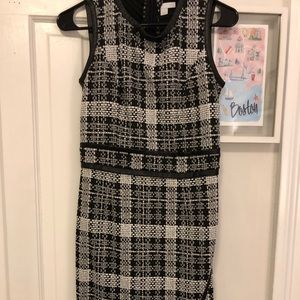 Black + white Tweed midi dress w/ leather detail